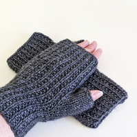 Fingerless Gloves Mitts - Wrist Warmers - Grey Ribbed
