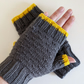 Fingerless Gloves Mitts - Wrist Warmers - Charcoal and Yellow