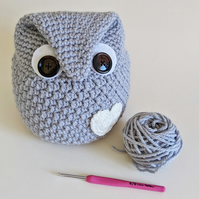 Owl Shaped Doorstop - Silver with Cream Heart