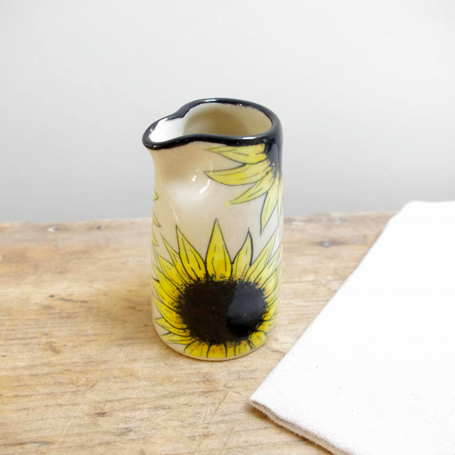 Small Jug - Sunflowers and Bees (Top Black)