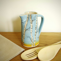 Medium Jug - Winter Silver Birch, Birds and Sunset