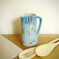 Medium Jug - Winter Silver Birch and Birds