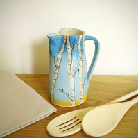 Medium Jug - Winter Silver Birch, Sunset and Birds