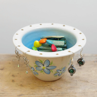 Jewellery Bowl, Earring Holder - Forget-Me-Not Flowers