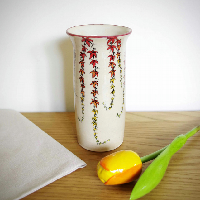 Tall Cylinder Vase - Red Virginia Creeper