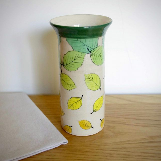 Tall Cylinder Vase - Green, Beech Leaves Falling