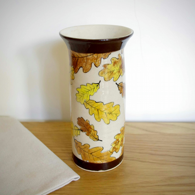 Tall Cylinder Vase - Oak Leaves Autumn and Dark Brown Lines