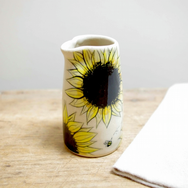 Small Jug - Sunflowers and Bees.