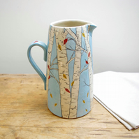 Large Jug - Silver Birch and Autumn Falling Leaves