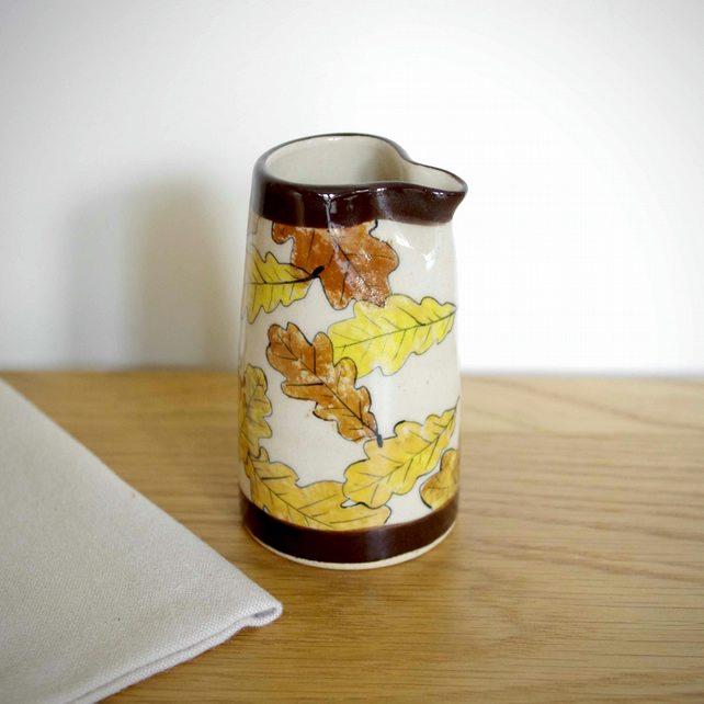 Small Jug - Oak Leaves Autumn and Dark Brown Lines