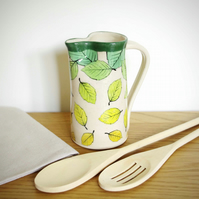 Medium Jug - Green, Beech Leaves Falling