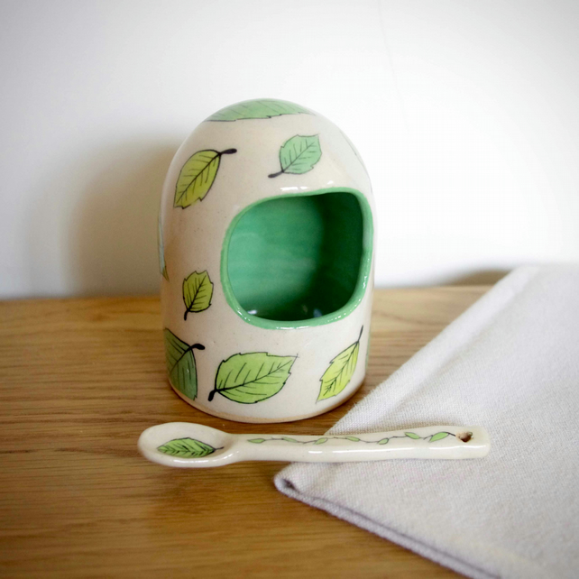 Salt Pig - Simple Pattern Green Beech Leaves (with a Spoon)