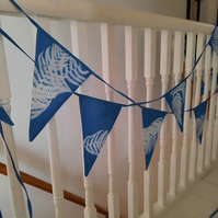 Fern blue and white cyanotype print bunting