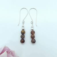 Leopardskin Jasper and Silver Bead Earrings