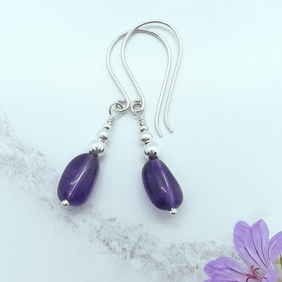 Amethyst Nugget and Silver Earrings
