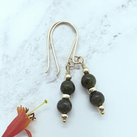 Jade and Gold Bead Earrings
