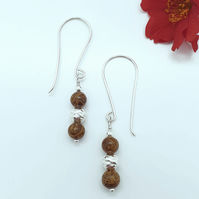 Cobra Jasper and Silver Bead Earrings