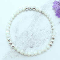 Mother of Pearl and Silver Stacking Bracelet