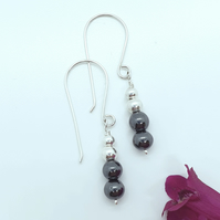 Hematite and Silver Bead Earrings