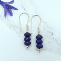 Lapis Lazuli Rondelle Bead Earrings