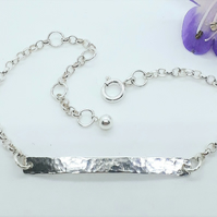 Hammered Silver Bar Chain Bracelet