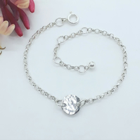 Hammered Silver Disc Chain Bracelet