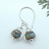 'Sea Dragon' Lampwork glass and Silver Bead Drop Earrings