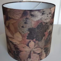 Eco printed and dyed silk lampshade