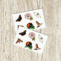Stickers - Insects - set of twelve 1 inch square