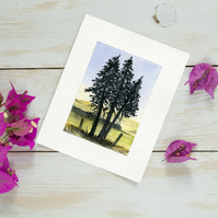 Original Watercolour Miniature painting of windswept pine trees