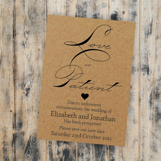 Pack of 10 Brown Kraft Cute Love Is Patient A6 Change of Date Wedding Cards