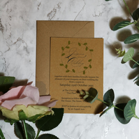 Personalised Brown Kraft Rustic Green Leaves A6 Unique Wedding Invitations