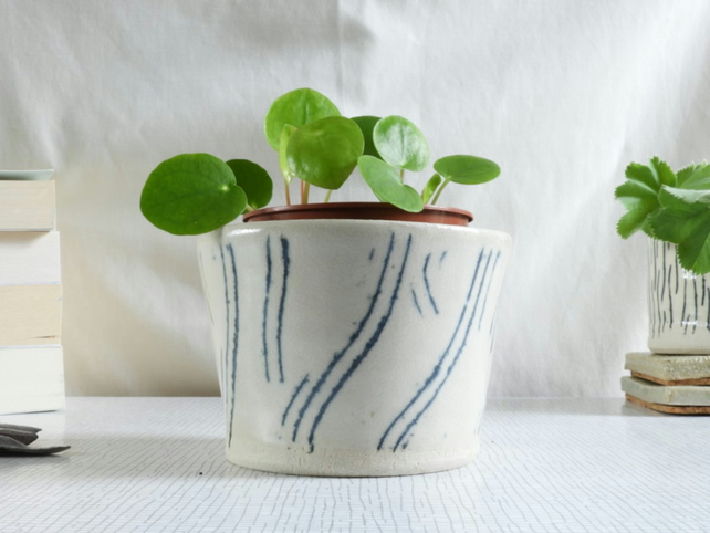 Ceramic Vessel or Plant Pot Holder, blue and white