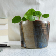 Ceramic Vessel or Plant Pot Holder, blue and brown
