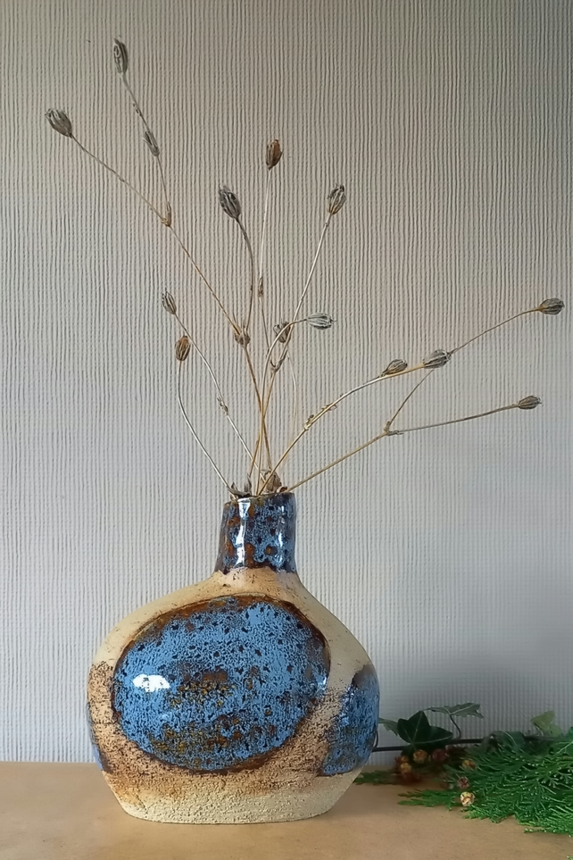 Ceramic Vase, Blue and Earth