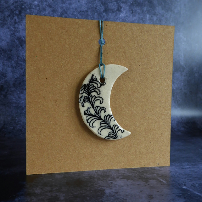 Hanging Moon Decoration on Card - Crescent Moon