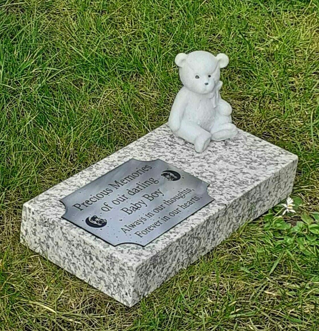 Personalised Granite Baby  Memorial Plaque Grave Marker Cemetery Teddy Headstone