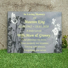 Personalised Memorial Grave Plaque Engraved Headstone Black Granite Grave Marker