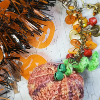 Pumpkin Bagcharm with Orange Agate and Charms.  Ready to Post.