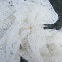 Traditional Gibbie Shetland Cobweb Babies Shawl, Lace Design, Hand Knitted, 1ply