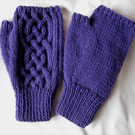 Hand knitted men's rich purple Saxon Braid Celtic cable pattern fingerless mitts