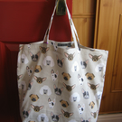 Shopping tote bag in 100% cotton - Dog faces print -  bag for life