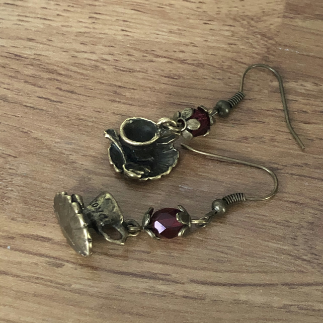Teacup and saucer earrings on bronze hooks