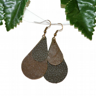 Olive green leather multi teardrop earrings on bronze hooks
