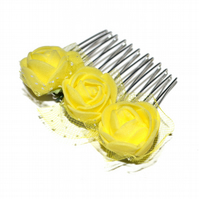 Small yellow foam rose hair comb, cute floral hair accessory
