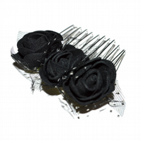 Small black foam rose hair comb, goth floral hair accessory