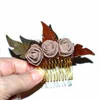 Brown foam rose hair comb with leather leaves, floral hair accessory