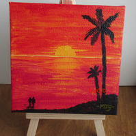 Listen to the Sunset - acrylic painting on mini canvas