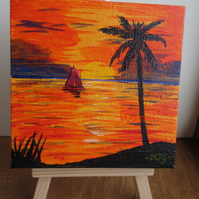 Red Sails in the Sunset - acrylic painting on mini canvas