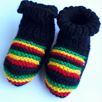 Hand knitted rasta babies booties Jamaica baby boots adult booties slipper socks